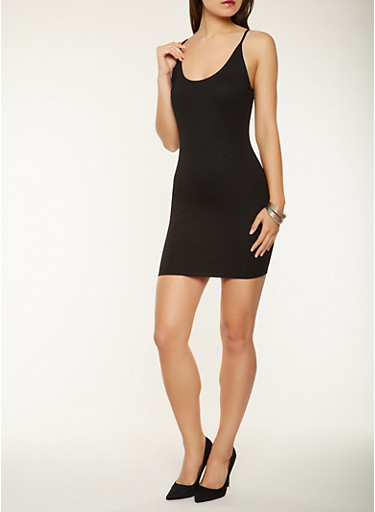 Ponte Knit Tank Dress,BLACK,large