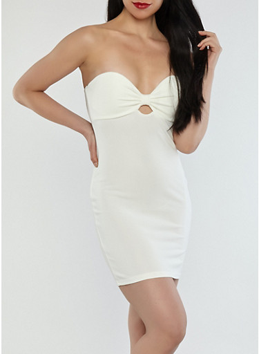 Sweetheart Bow Strapless Dress,WHITE,large