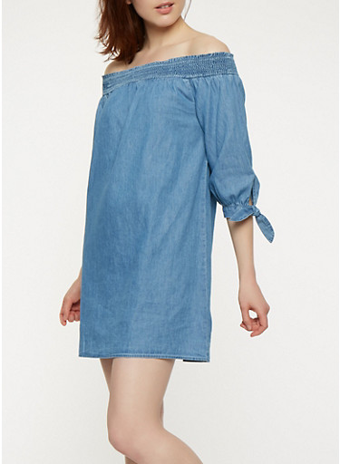 Chambray Off the Shoulder Tie Sleeve Dress,MEDIUM WASH,large