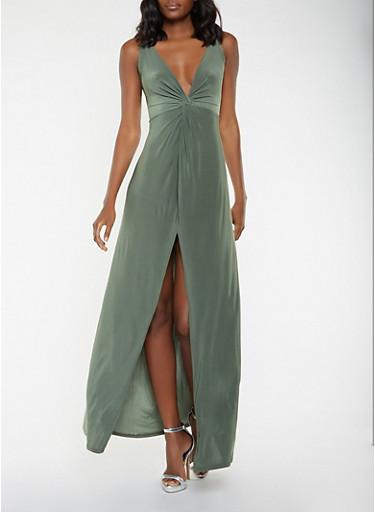 Twist Front Maxi Dress,OLIVE,large