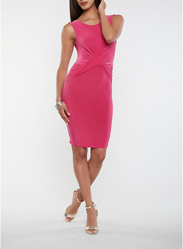 Twist Front Midi Bodycon Dress,MAGENTA,large