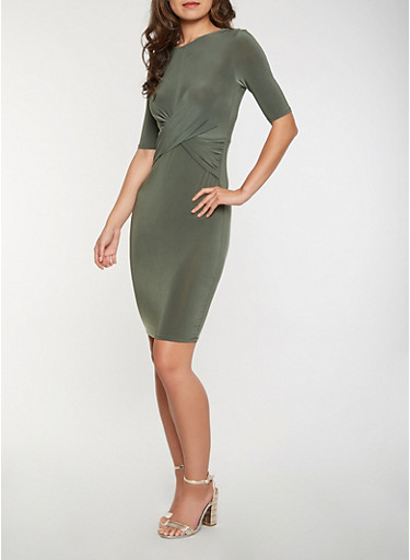 Twist Front Bodycon Dress | Tuggl