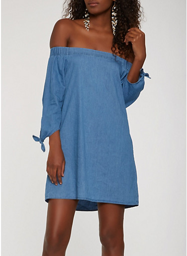 Off the Shoulder Chambray Dress,MEDIUM WASH,large