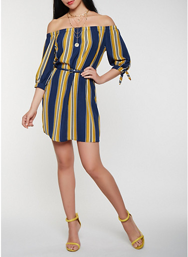 Striped Off the Shoulder Belted Dress,MUSTARD,large