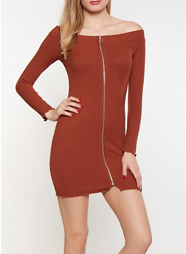Off the Shoulder Zip Front Dress,RUST,large