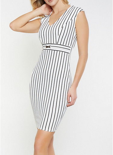 Striped Textured Knit Bodycon Dress,WHT-BLK,large
