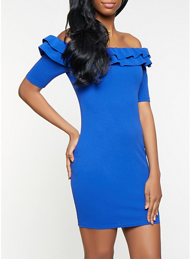 Ruffled Off the Shoulder Bodycon Dress,RYL BLUE,large