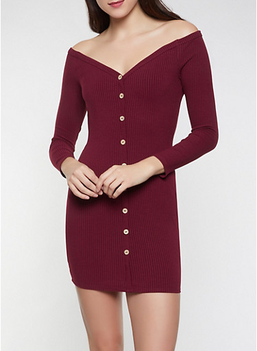 Off the Shoulder Rib Knit Dress,WINE,large