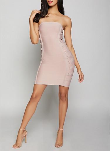 Lace Up Tube Bandage Dress,MAUVE,large