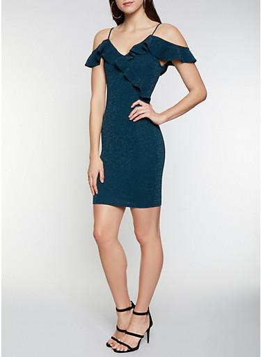 Ruffled Off the Shoulder Shimmer Knit Dress,HUNTER,large