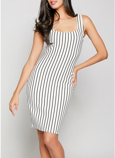 Striped Ponte Knit Dress,WHT-BLK,large