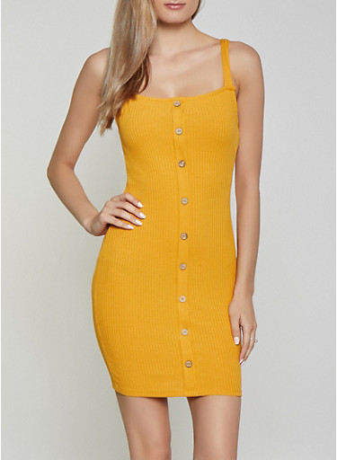 Square Neck Button Dress,MUSTARD,large
