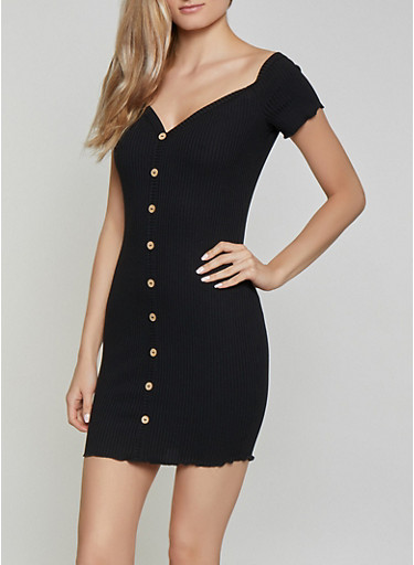 Button Detail Off the Shoulder Dress,BLACK,large