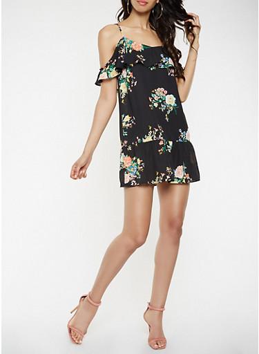 Ruffled Floral Off the Shoulder Dress,BLACK,large
