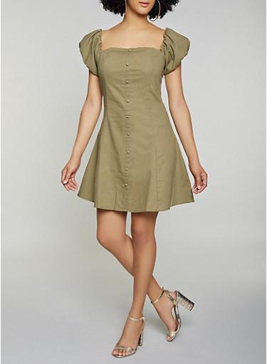 Faux Button Linen Skater Dress,OLIVE,large