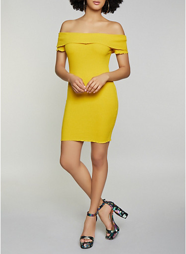 Fold Over Off the Shoulder Bodycon Dress,YELLOW,large