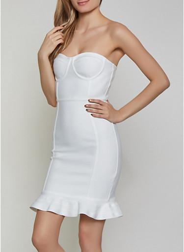 Bandage Tube Dress,IVORY,large