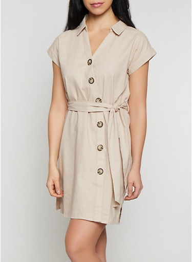 Button Front Linen Shirt Dress,KHAKI,large