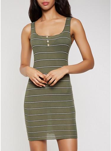 Rib Knit Striped Lettuce Edge Tank Dress,OLIVE,large