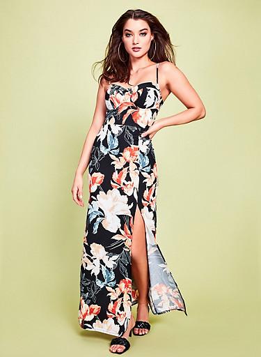 Floral Print Front Slit Maxi Dress