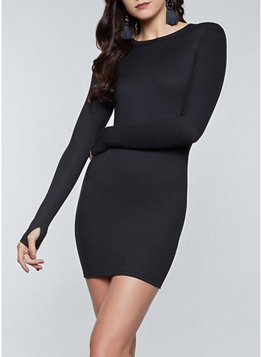 Rib Knit Long Sleeve Dress,BLACK,large