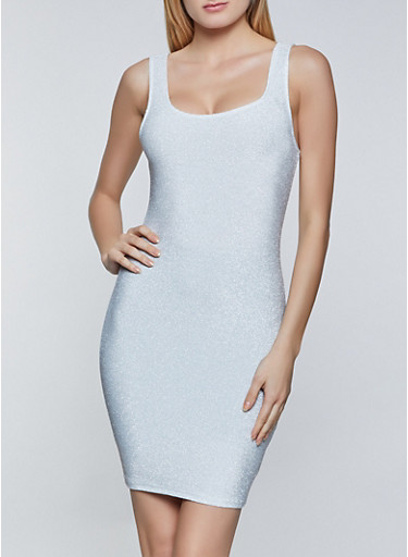 Sleeveless Lurex Bodycon Dress,WHITE,large