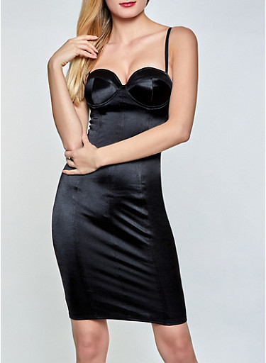 Solid Satin Bustier Dress,BLACK,large
