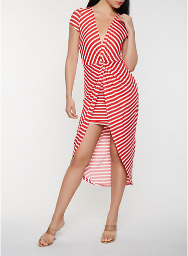 Striped Twist Front High Low Dress,RED,large
