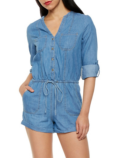 Button Front Chambray Romper,MEDIUM WASH,large