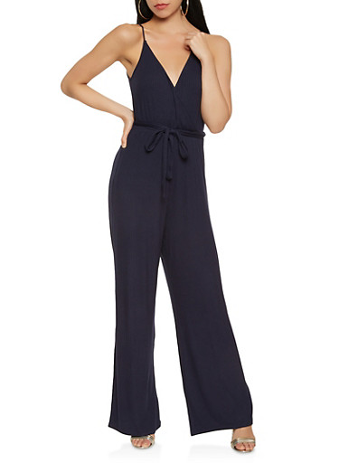 Ribbed Knit Wide Leg Jumpsuit,NAVY,large