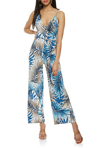 Printed Wide Leg Jumpsuit,WHITE,large