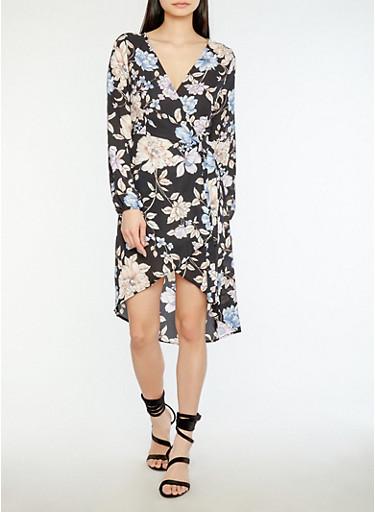 Sheer Floral Wrap Dress,BLACK,large