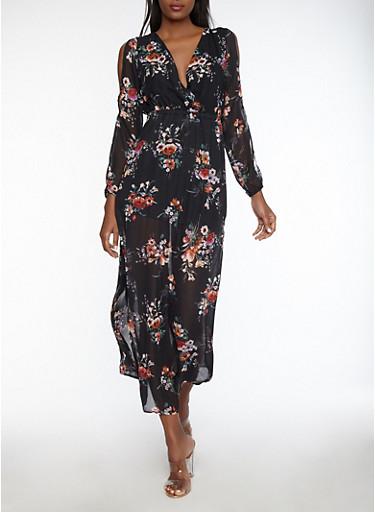 Floral Slit Sleeve Maxi Dress,BLACK,large