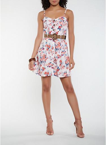 Floral Belted Skater Dress,MAUVE,large
