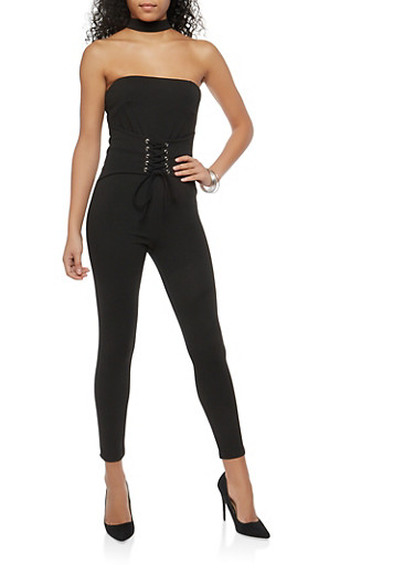 Lace Up Waist Choker Neck Jumpsuit,BLACK,large