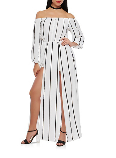 Striped Off the Shoulder Maxi Romper,WHITE,large