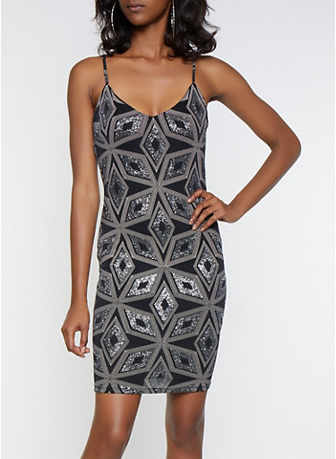 Geometric Glitter Print Bodycon Dress,SILVER,large