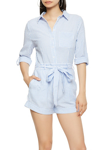 Striped Seersucker Tie Waist Romper,BLUE,large