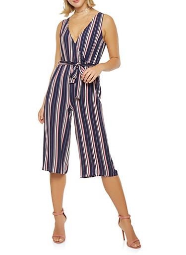 Striped Wide Leg Capri Jumpsuit,MAUVE,large