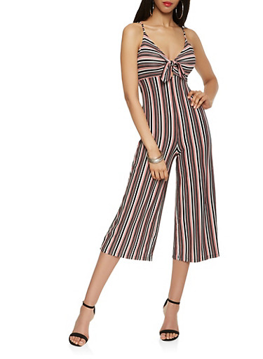 Striped Tie Front Cropped Jumpsuit,BLUSH,large