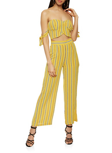 Striped Off the Shoulder Cut Out Jumpsuit,MUSTARD,large