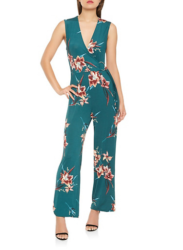 Floral Faux Wrap Wide Leg Jumpsuit,HUNTER,large