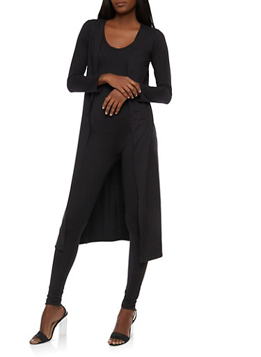 Soft Knit Catsuit and Duster Set,BLACK,large