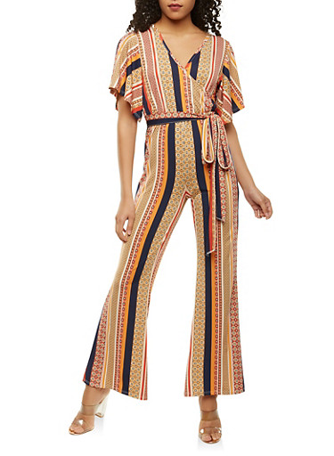Printed Faux Wrap Jumpsuit,MUSTARD,large