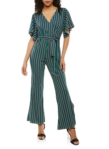 Striped Faux Wrap Jumpsuit,GREEN,large