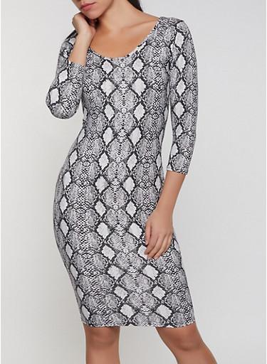 Snake Print Bodycon Dress,BLACK/WHITE,large