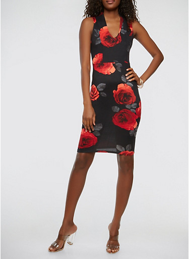 Floral Soft Knit Bodycon Dress,RED,large