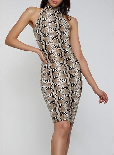 Snake Print Mock Neck Bodycon Dress,BROWN,large