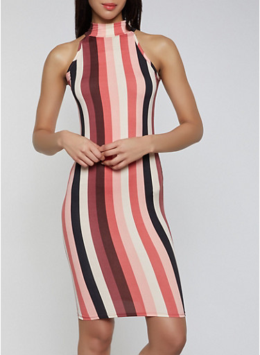 Striped Sleeveless Mock Neck Dress,PINK,large