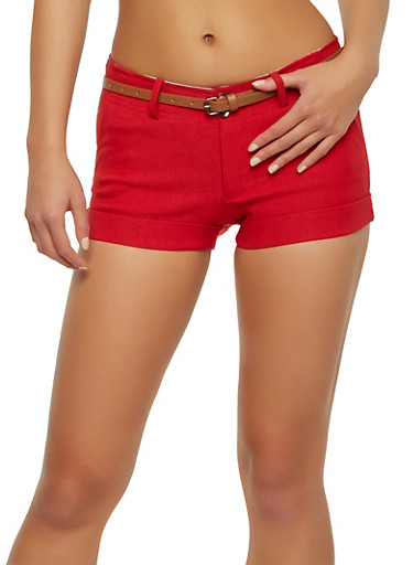 Belted Solid Cuffed Shorts,RED,large